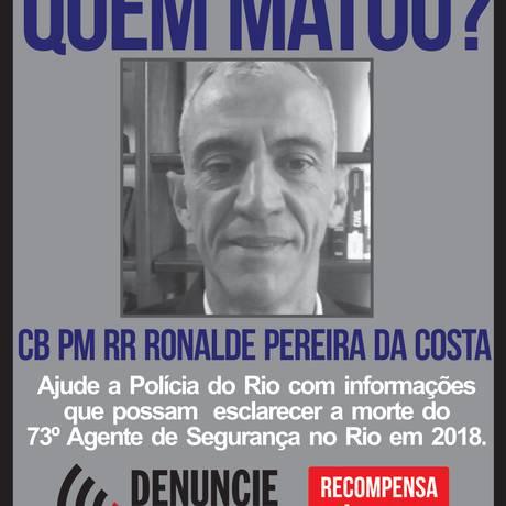 Cabo Ronalde Pereira da Costa foi assassinado nesta quarta-feira Foto: Divulgação/ Disque Denúncia