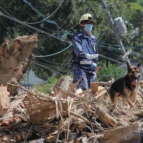 Um membro das Forças de Autodefesa Marítima procura por pessoas desaparecidas com um cachorro em Kure, no município de Hiroshima, Japão Foto: JIJI PRESS / AFP