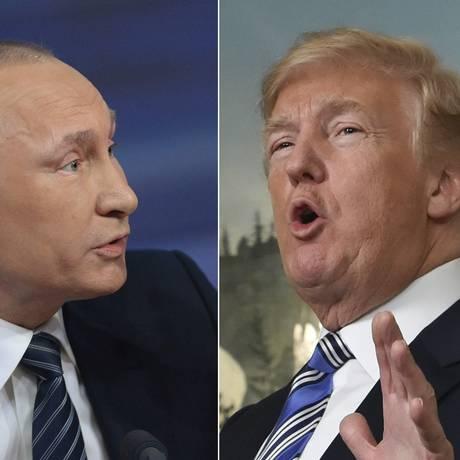 O presidente russo, Vladimir Putin, e o americano, Donald Trump: troca de farpas sobre gasoduto no Mar Báltico Foto: AFP