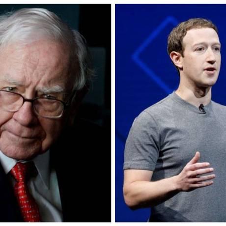 Os bilionários Warren Buffett e Mark Zuckerberg Foto: Rick Wilking e Stephen Lam/ Reuters