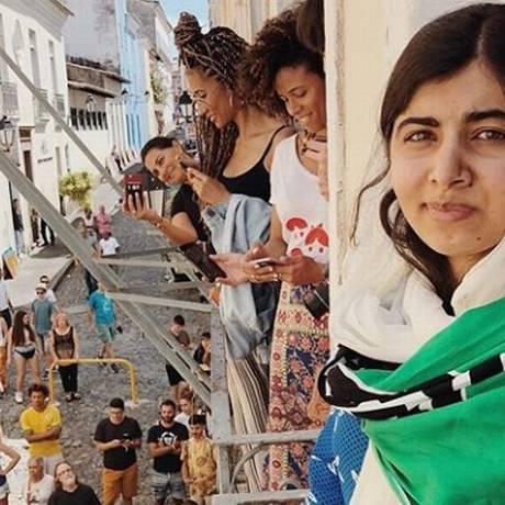 Malala na primeira foto publicada em seu Instagram, em Salvador Foto: Reprodução / Instagram