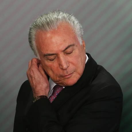 O presidente Michel Temer, durante cerimônia no Palácio do Planalto Foto: Givaldo Barbosa / Agência O Globo