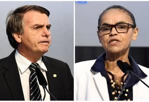 Os prépcandidatos à Presidência Jair Bolsonaro (PSL) e Marina Silva (Rede) Foto: Arquivo O GLOBO