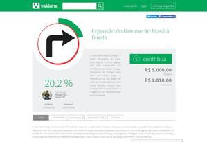 Campanha de financiamento coletivo de página de apoio a Bolsonaro Foto: Reprodução