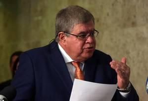 O ministro da Secretaria de Governo, Carlos Marun, durante entrevista Foto: Givaldo Barbosa/Agência O Globo/05-07-2018