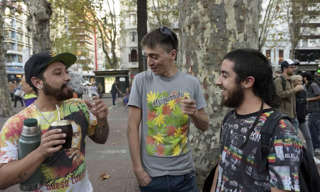 Consumidores de maconha no Uruguai têm de se registrar para comprar o produto em farmácias. A medida reduziu à metade o tráfico clandestino Foto: MIGUEL ROJO / Agência O Globo