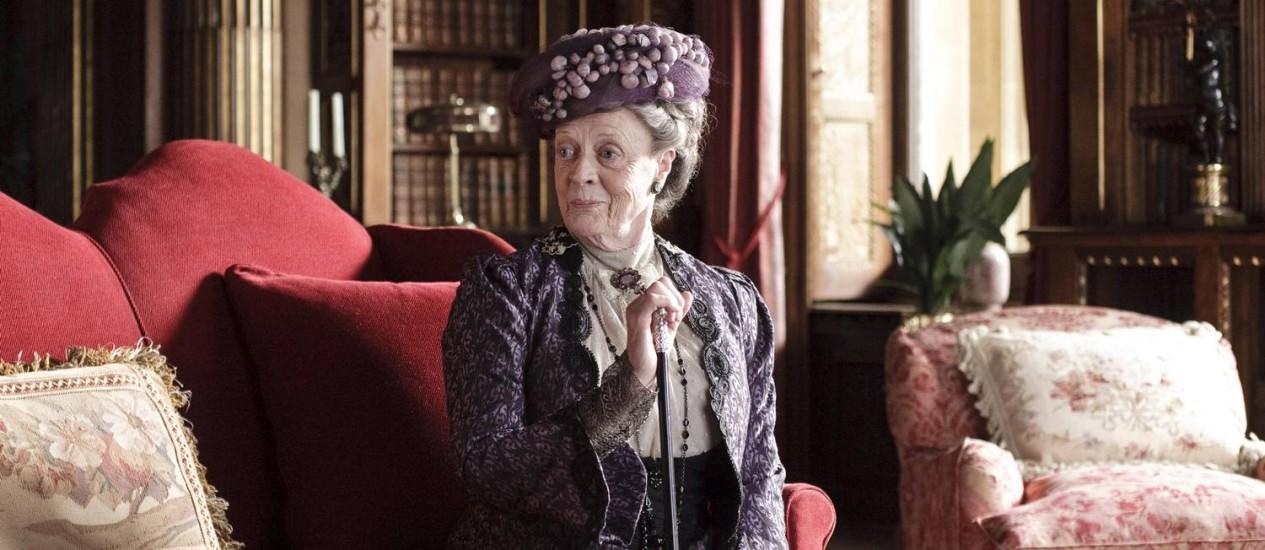 Maggie Smith durante cena de 'Downton Abbey': filme a caminho Foto: Divulgação