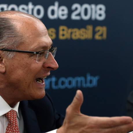 O pré-candidato à Presidência Geraldo Alckmin (PSDB) em evento da ABERT - Associação Brasileira de Emissoras de Rádio e Televisão, em Brasília Foto: Givaldo Barbosa / Agência O Globo