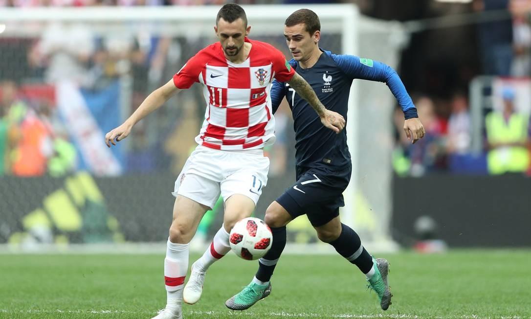 França e Croácia na final da Copa da Rússia, no estádio Luzhniki, em Moscou CARL RECINE / REUTERS
