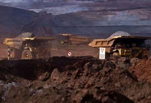 Mina de exploração de minério de ferro de Brucutu, da Vale, no estado de Minas Gerais Foto: Dado Galdieri / Bloomberg News