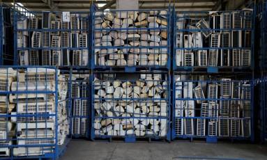 Aparelhos de ar-condicionado que serão reciclados Foto: Aly Song / REUTERS