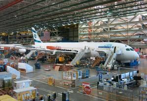 Montagem de aviões na fábrica de Everett da Boeing, no Estado de Washington (EUA) Foto: Glauce Cavalcanti