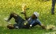 Mendy comemorando o título mundial Foto: KAI PFAFFENBACH / REUTERS