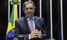 O senador Aécio Neves (PSDB-MG) discursa na tribuna do Senado Foto: Moreira Mariz/Agência Senado/16-05-2018