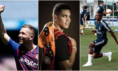 Arthur, Paulinho e Vinícius Júnior: três joias brasileiras na Europa Foto: Pau Barrena/Guito Moreto/Real Madrid