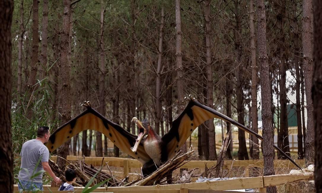 São mais de 120 modelos em tamanho real de 70 espécies de dinossauros, separadas por era geológica Foto: JOSE MANUEL RIBEIRO / AFP