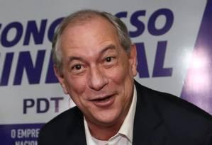 O pré-candidato do PDT, Ciro Gomes, durante reunião do movimento sindical da legenda Foto: Ailton de Freitas / O Globo