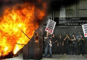 Em 2002, a crise econômica estimulou explosão de manifestações violentas na Argentina, que teve cinco presidentes em 13 dias Foto: Daniel Garcia / AFP Photo