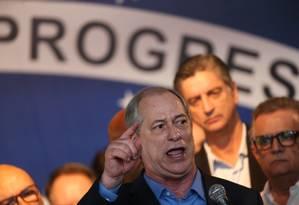 Ciro Gomes discursa na convenção que o oficializou como candidato do PDT Foto: Ailton Freitas/Agência O Globo