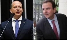 O deputado Marcelo Delaroli (PR) e o ex-prefeito Eduardo Paes (DEM) Foto: Divulgação/O Globo