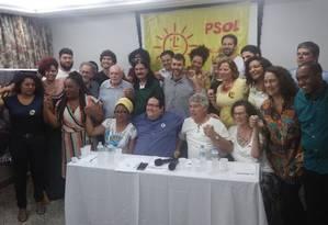Principais nomes do PSOL participaram do lançamento da candidatura de Tarcísio Motta Foto: Igor Mello / Agência O Globo