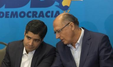 ACM Neto e Geraldo Alckmin em evento para lançamento da chapa PSDB e DEM para o governo de São Paulo Foto: Edilson Dantas / Agência O Globo