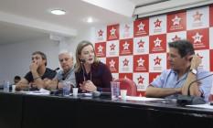 Gleisi e Haddad participam da reunião da Executiva Nacional do Partido dos Trabalhadores sobre o programa de governo Foto: Paulo Pinto/ Divulgação