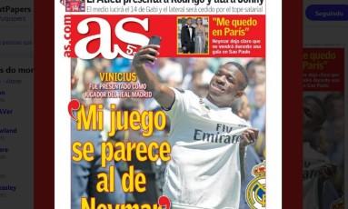 Vinícius Jr. é capa do diário 'As' neste sábado Foto: Reprodução