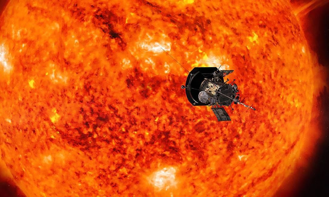 A sonda batizada de Parker Solar Probe deve chegar a uma distância de 6,1 milhões de quilômetros da superfície do Sol, sete vezes mais perto do que qualquer outra sonda já chegou Foto: HO / AFP/06-07-2018