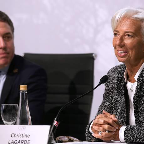 A diretora-gerente do FMI, Christine Lagarde, mostrou confiança na economia da Argentina, em coletiva de imprensa ao lado do ministro Nicolas Dujovne. Foto: Agustin Marcarian/AFP