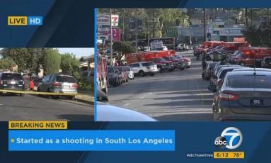 Ambulâncias foram encaminhadas a cena de tensão em loja de Los Angeles Foto: Reprodução/ABC