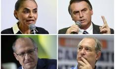 Marina Silva, Jair Bolsonaro, Geraldo Alckmin e Ciro Gomes Foto: Montagem sobre fotos de arquivo
