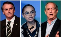 Os presidenciáveis Jair Bolsonaro (PSL), Marina Silva (Rede) e Ciro Gomes (PDT) Foto: Arquivo O GLOBO