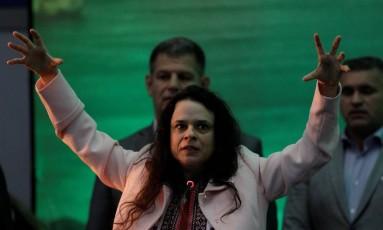 A advogada Janaína Paschoal em discurso na convenção do PSL Foto: Ricardo Moraes / REUTERS