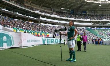 Moisés comemora o primeiro gol do Palmeiras sobre o Atlético-MG Foto: Cesar Greco / Divulgação Palmeiras