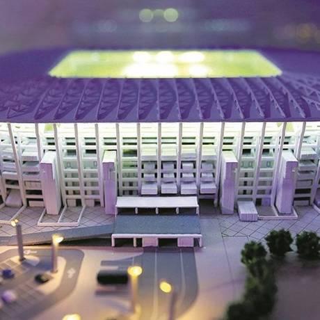 O estádio Ras Abu Aboud, feito de contêineres, terá capacidade para 40 mil pessoas e será um dos oito do país utilizados na Copa do Mundo de 2022 Foto: Marcelo Theobald