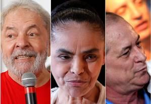 O ex-presidente Luiz Inácio Lula da Silva e os ex-ministros Marina Silva e Ciro Gomes Foto: Montagem / Agência O Globo /