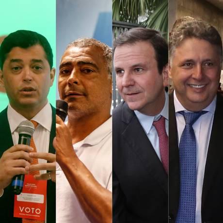 Quatro dos pré-candidatos ao governo do Rio, na ordem, Indio da Costa, Romário, Eduardo Paes e Anthony Garotinho Foto: Reprodução / Agência O Globo