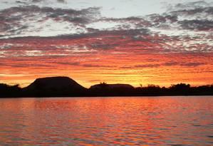 Paleta. Acima, todas as cores do pôr do sol no Rio Tocantins Foto: Eduardo Vessoni