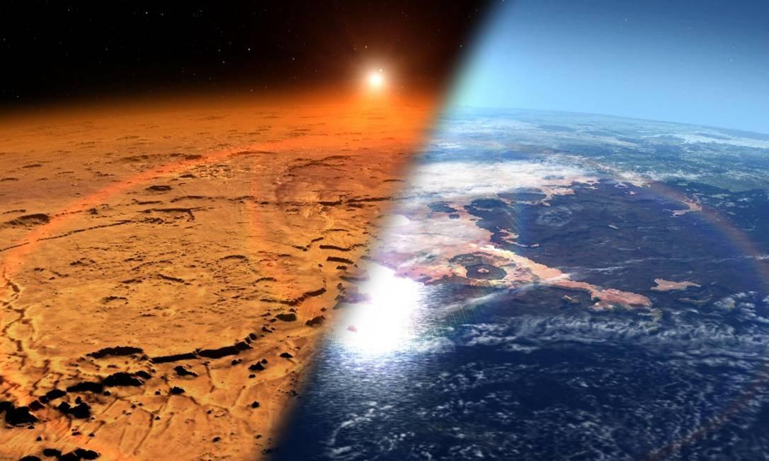 Ilustração da Nasa mostra o que pode ter sido o ambiente antigo de Marte (à direita) e como ele é hoje Foto: / NASA/Centro de Voo Espacial Goddard