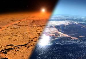 Ilustração da Nasa mostra o que pode ter sido o ambiente antigo de Marte (à direita) e como ele é hoje Foto: NASA/Centro de Voo Espacial Goddard