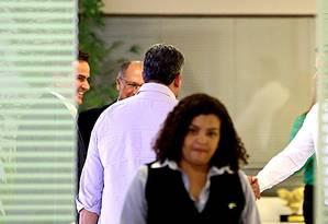 Ao fundo, o presidente do PP, Ciro Nogueira, e Geraldo Alckmin durante encontro em Brasília Foto: Ailton de Freitas / Agência O Globo