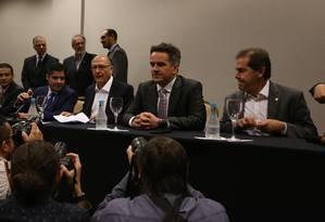 O pré-candidato à Presidência do PSDB, Geraldo Alckmin, na reunião com líderes do Centrão Foto: Ailton Freitas / O Globo