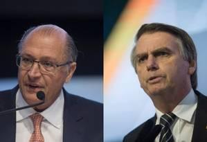 Geraldo Alckmin e Jair Bolsonaro participam de evento com presidenciáveis na CNI Foto: Montagem sobre fotos de Daniel Marenco