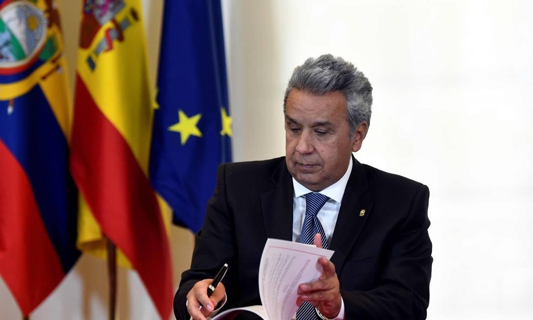 Presidente equatoriano, Lenín Moreno, durante visita à Espanha Foto: OSCAR DEL POZO / AFP