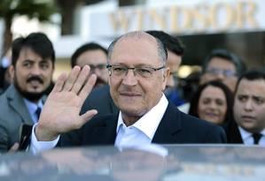 Geraldo Alckmin, no evento em que o centrão oficializou o apoio à sua candidatura Foto: Jorge William/Agência O Globo/26-07-2018