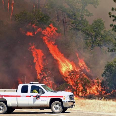 Chamas consomem árvores em rodovia em Redding, na Califórnia Foto: JOSH EDELSON / AFP