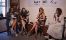 Marina Caruso, colunista do O Globo, a escritora Selva Almada, a psiquiatra Ana Beatriz Barbosa Silva e Leila Slimani Foto: Foto: Marcelo Saraiva