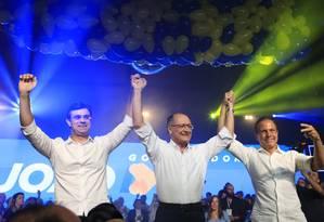 A convenção estadual do PSDB reuniu Rodrigo Garcia, João Doria e Geraldo Alckmin Foto: Edilson Dantas / Agência O Globo