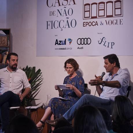 Boulos e Haddad, em debate mediado pela jornalista Letícia Sander Foto: Marcelo Saraiva